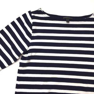 J. Crew Navy White Striped Boatneck Top Shirt